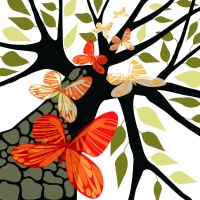 Tree with leave & butterflies